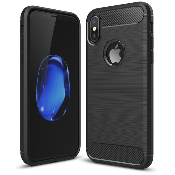 iPhone X Carbon Fibre Full Protection Cover Drop Safe Shock Absorbing Back Case