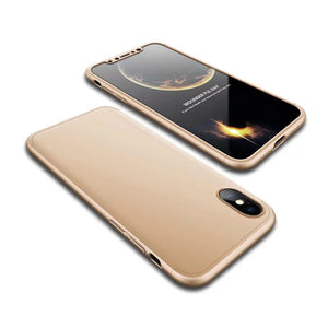 Ultra-Slim iPhone X Full Protection Case -360 Degree Impact Resistant - Shockproof Protection Cover (Gold)