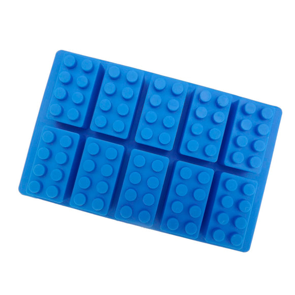 Silicone Lego Shape Ice Block Mould Baking Tray Chocolate Lolly Maker - Blue