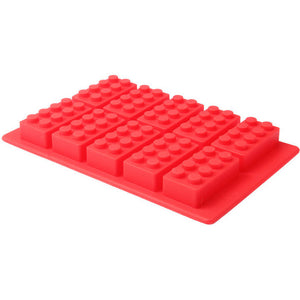 Silicone Lego Shape Ice Block Mould Baking Tray Chocolate Lolly Maker - Red