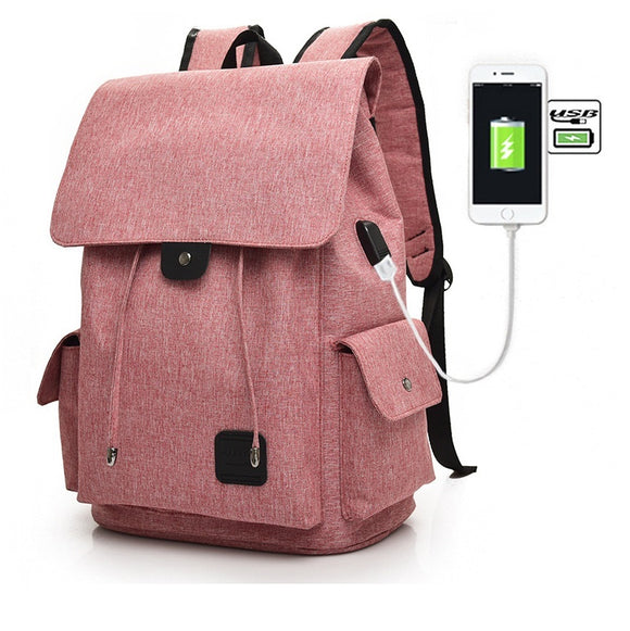 Casual Tech2Go - Durable Fashionable Laptop Backpack Travel Work School Bag with USB Charging Port - Pink
