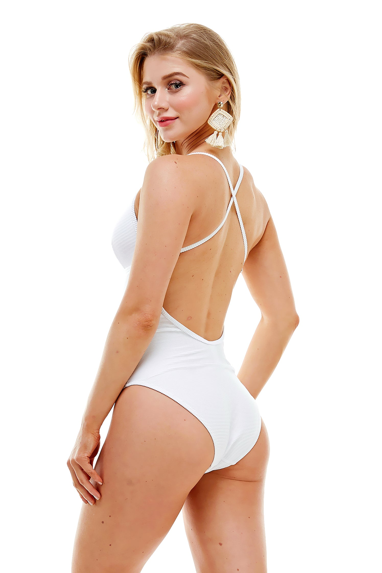 Cross Back Laced Up Ribbed One-Piece