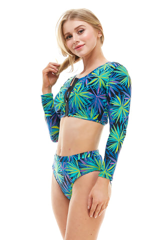 Retro Long Sleeve Cover Up Tankini Set