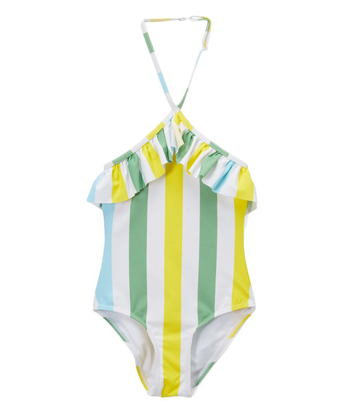 Girls Ruffled Halter One Piece