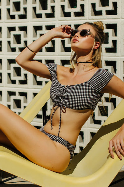 Lido Checkered Off-Shoulder Bikini Set