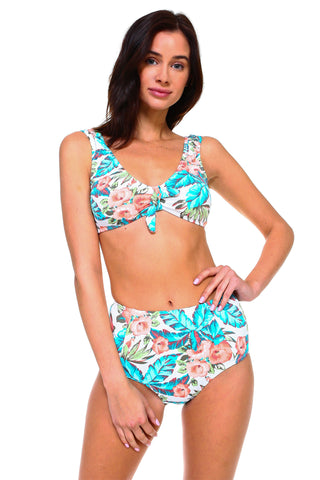 Knotted Front Textured Floral Print Swimsuit