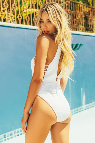Halter Ribbed One piece Swimsuit