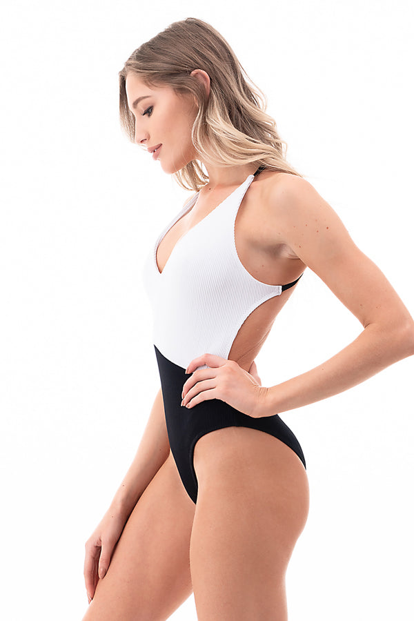 Ribbed Two Tone One Piece Swimsuit