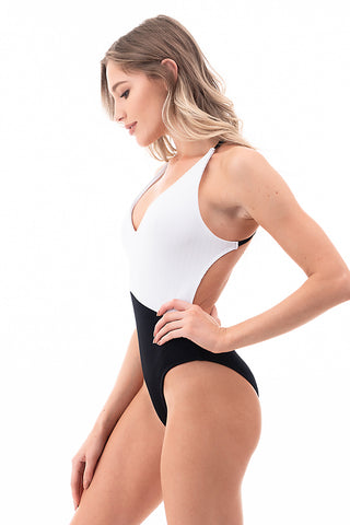 Ribbed Two Tone One Piece Swimsuit | Front | Black