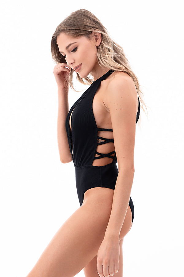 Halter Neck Ribbed One Piece
