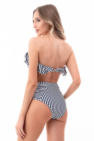 Ruffled Bandeau High Waisted Swimsuit