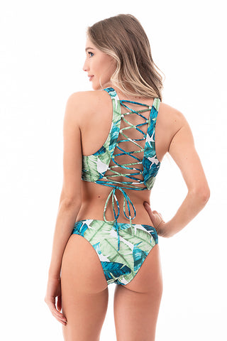 Laced Back Tank Top Two-Piece Bikini Set | Front | Blue Green