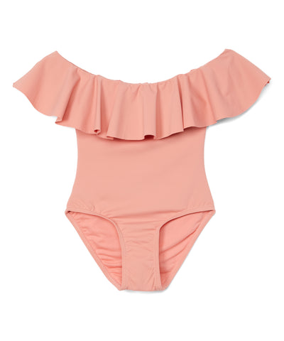 Girls Off the Shoulder Ruffled Collar Swimsuit