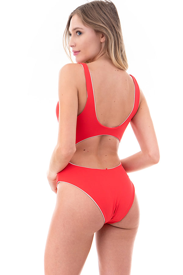 Reversible Knotted Front Keyhole One-Piece