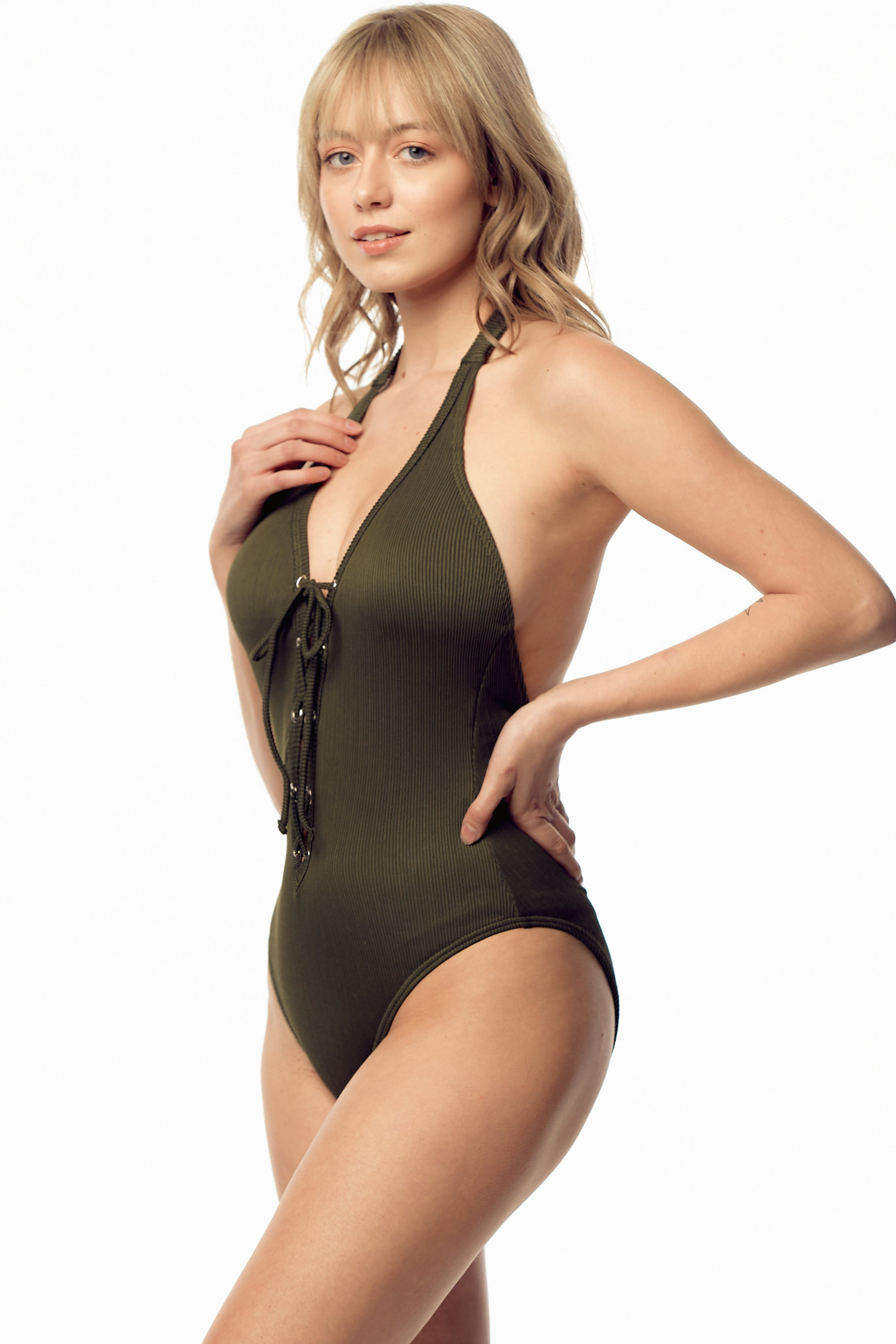 Ribbed Laced Front One-Piece Swimsuit