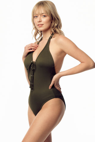Ribbed Laced Front One-Piece