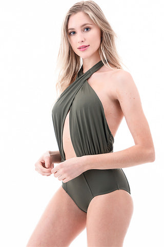 Kaleen Front Cross Halter Neck One-Piece