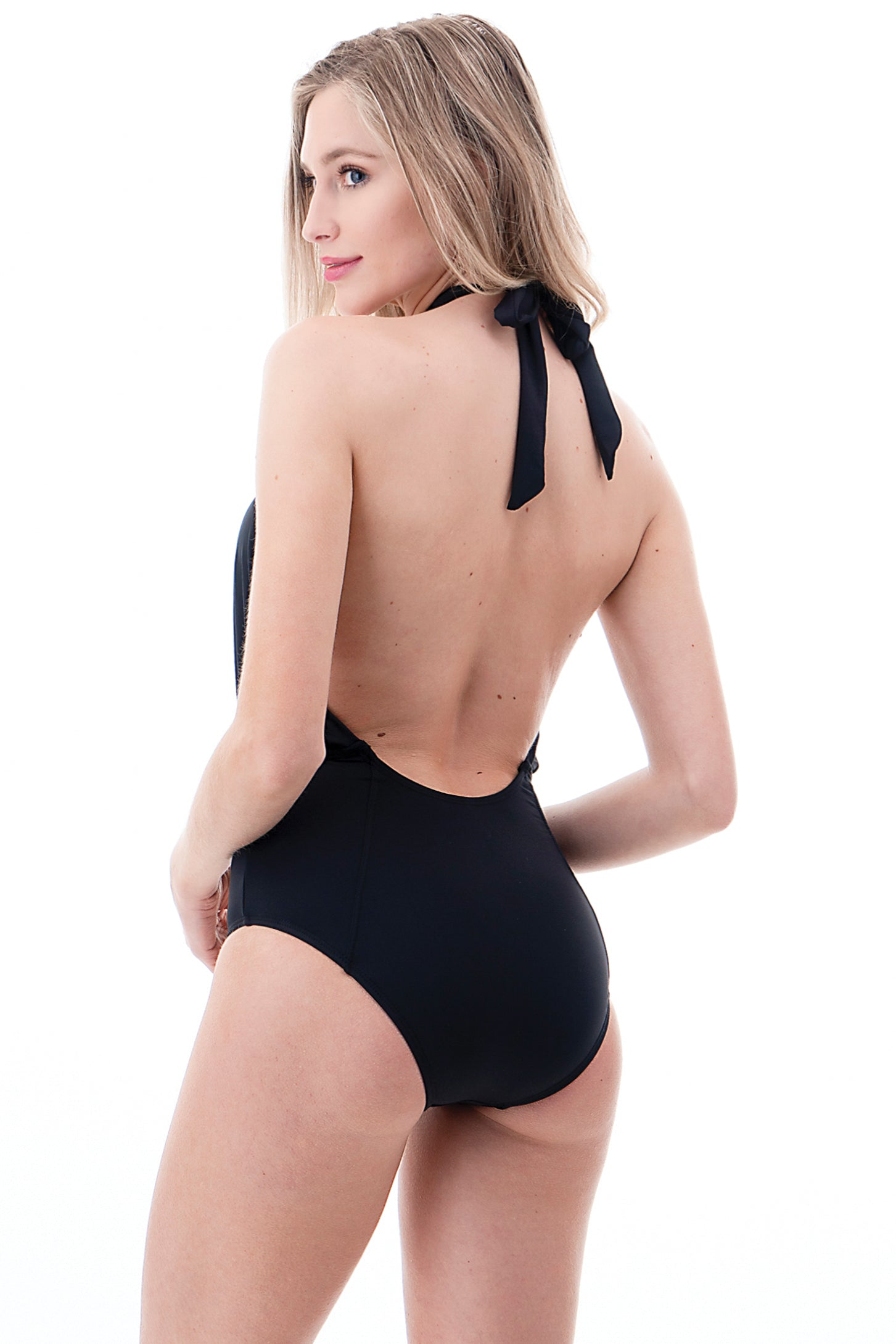 Solid Cross Front One Piece Swimsuit