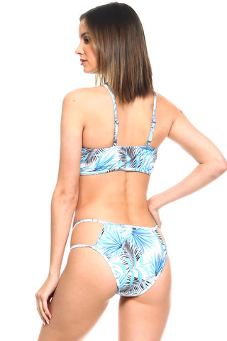 Leila Strappy Palm Leaves Print Two-Piece Bikini Set