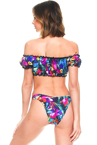 Tropical Print Off-the-Shoulder Two-Piece Swimsuit