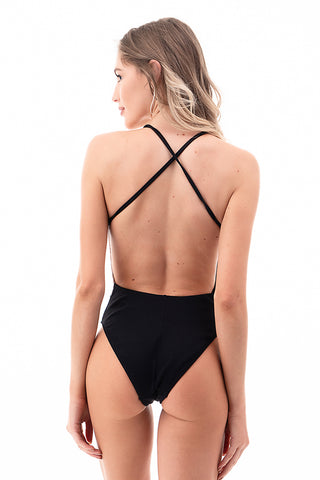 Ribbed Two Tone One Piece Swimsuit | Front | Rust