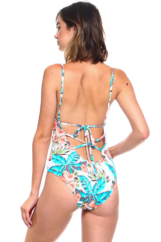 White Floral Print Lace Front One-Piece Swimsuit | Front | White Floral