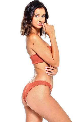 Ribbed Bandeau Two-Piece Bikini Set | Front | Rust