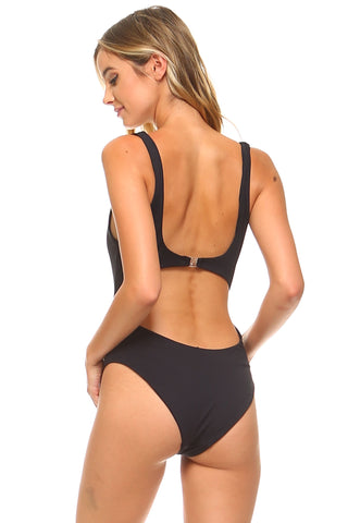 Knotted Front Keyhole Swimsuit