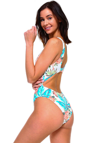 Reversible Knotted Front Keyhole Swimsuit
