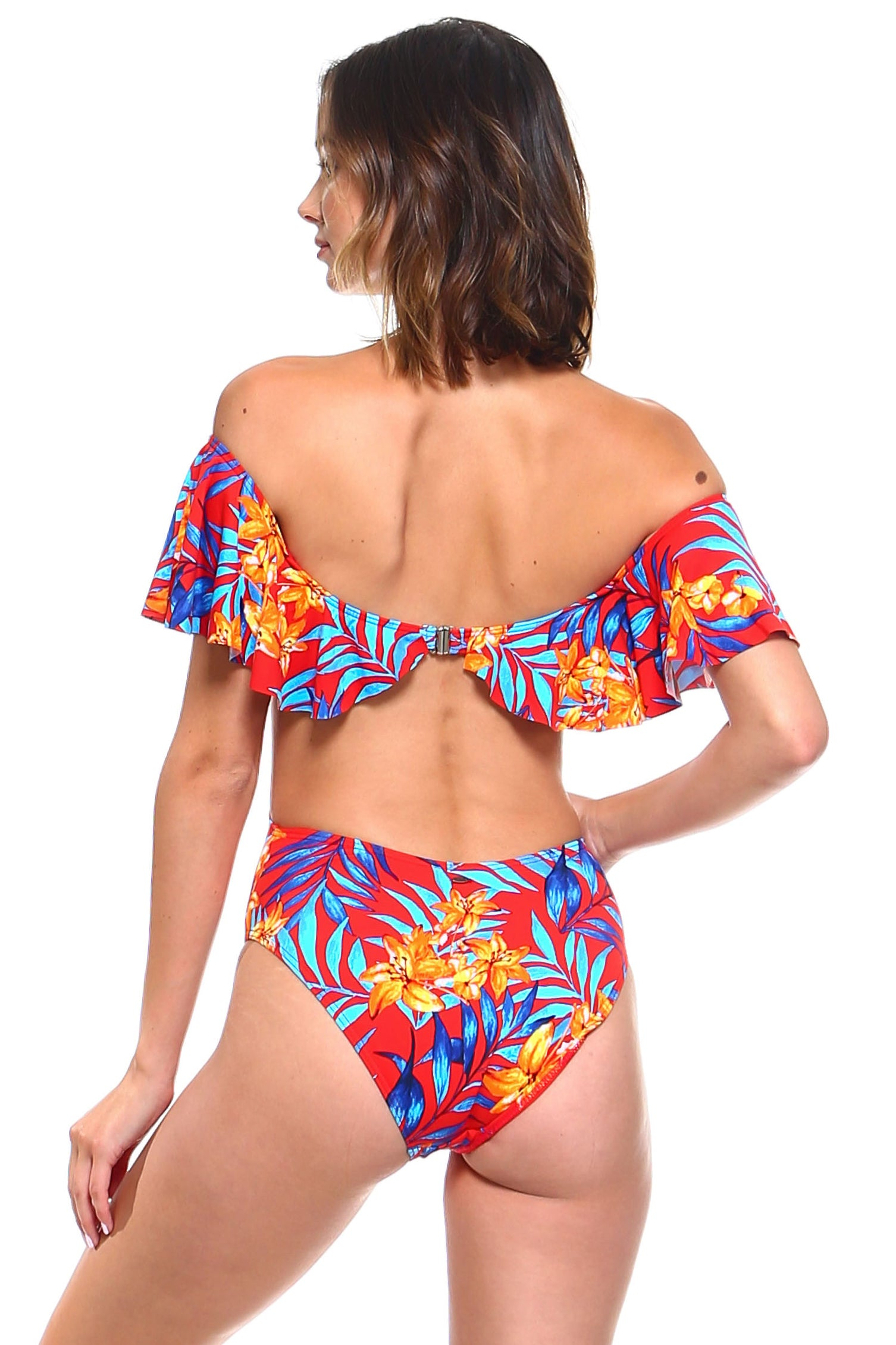 Tropical Print Off-the-Shoulder Ruffle One-Piece Swimsuit