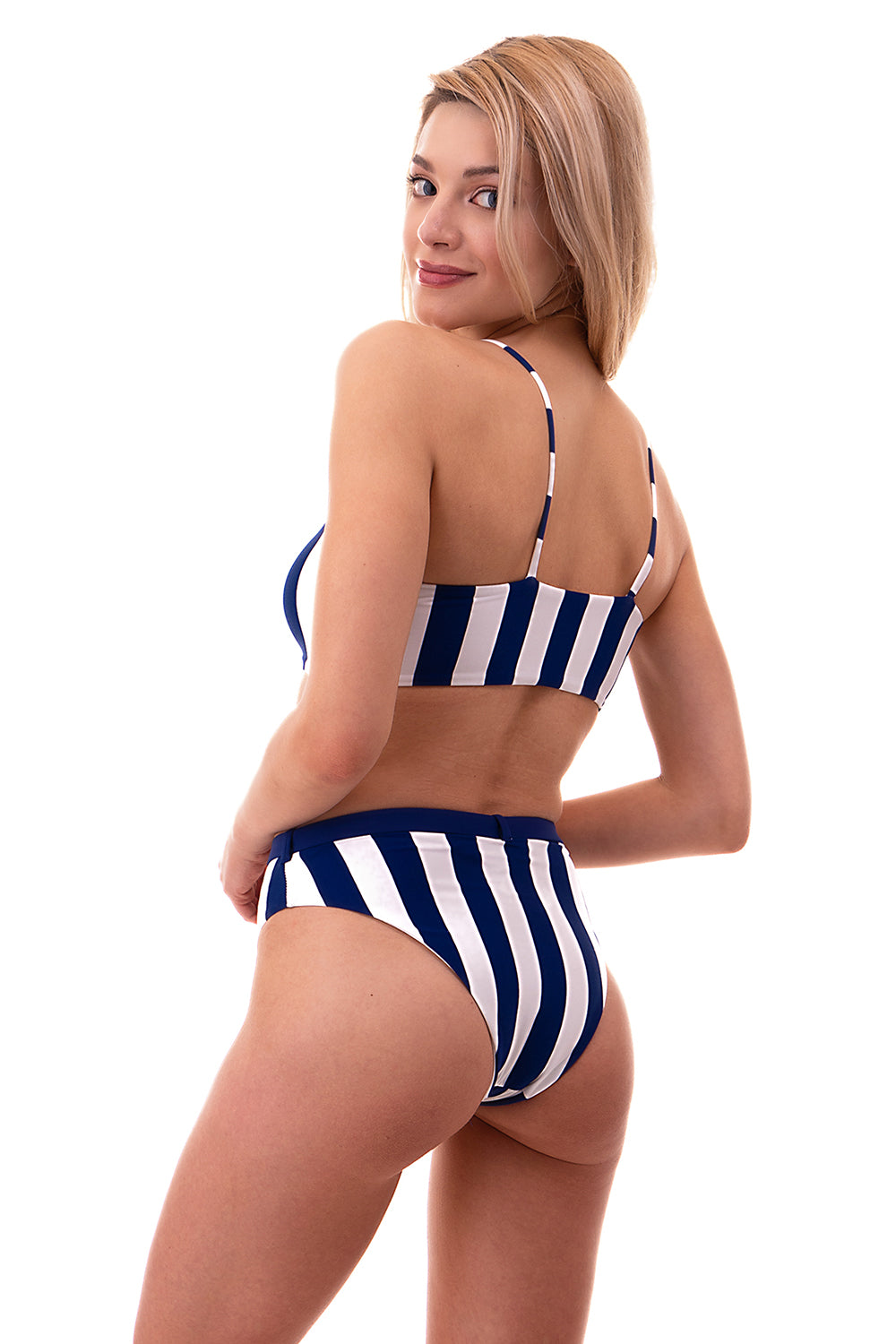 Striped Tank Top w/ Belted Bottom Swimsuit