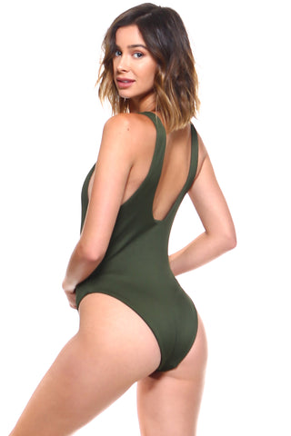 Ribbed Lace Up One-Piece Swimsuit