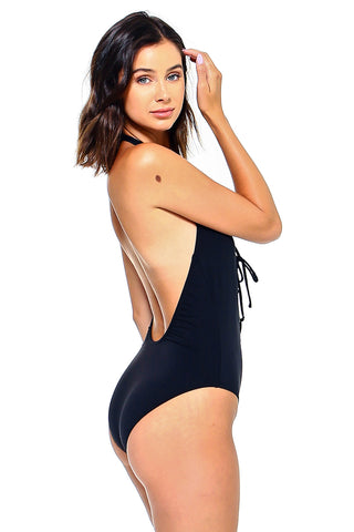 Laced Front One-Piece Swimsuit