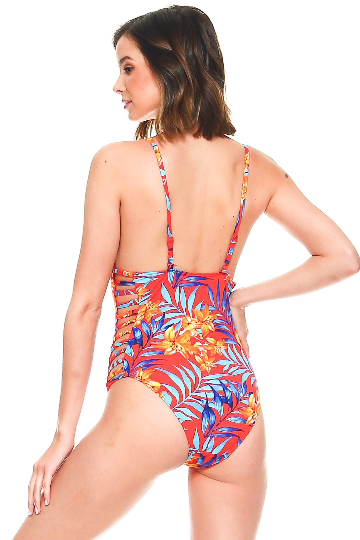 Laddered Sides Printed Swimsuit