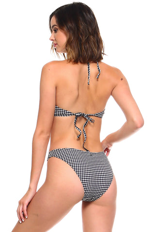 Checkered Halter Top Bikini Set