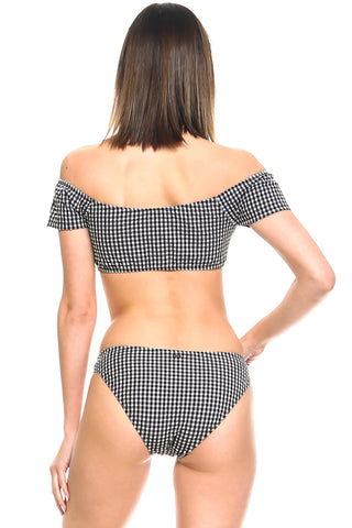 Checkered Off-the-Shoulder Two-Piece Swimsuit