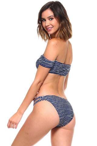 Striped off-Shoulder Two-Piece Bikini