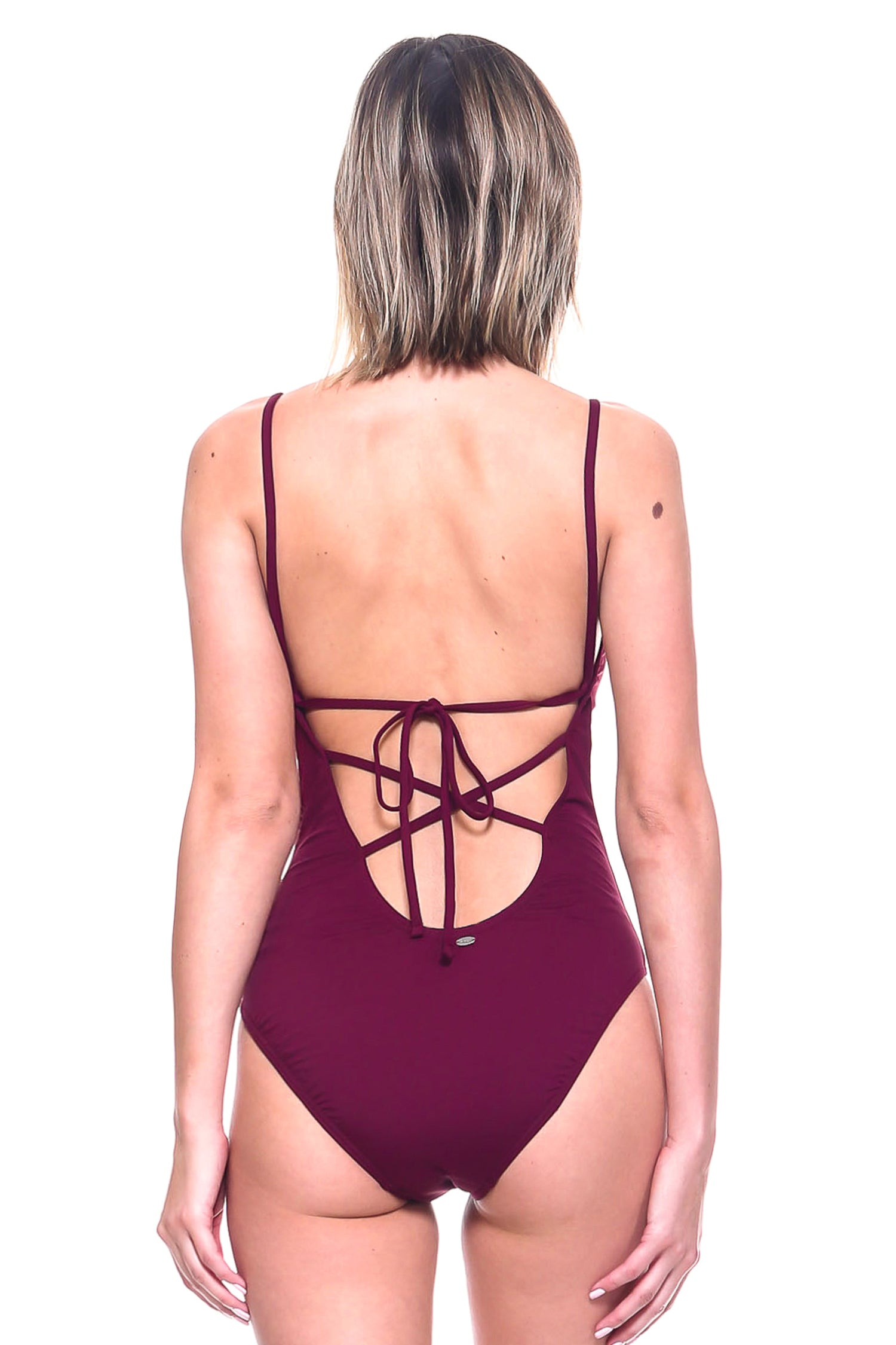 Solid Lace Front One-Piece Swimsuit