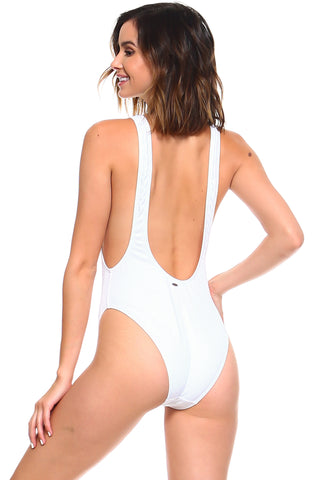 Textured White One Piece Swimsuit