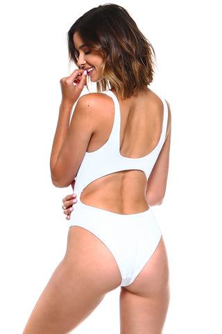Luxe Ribbed Knotted Front Keyhole Swimsuit