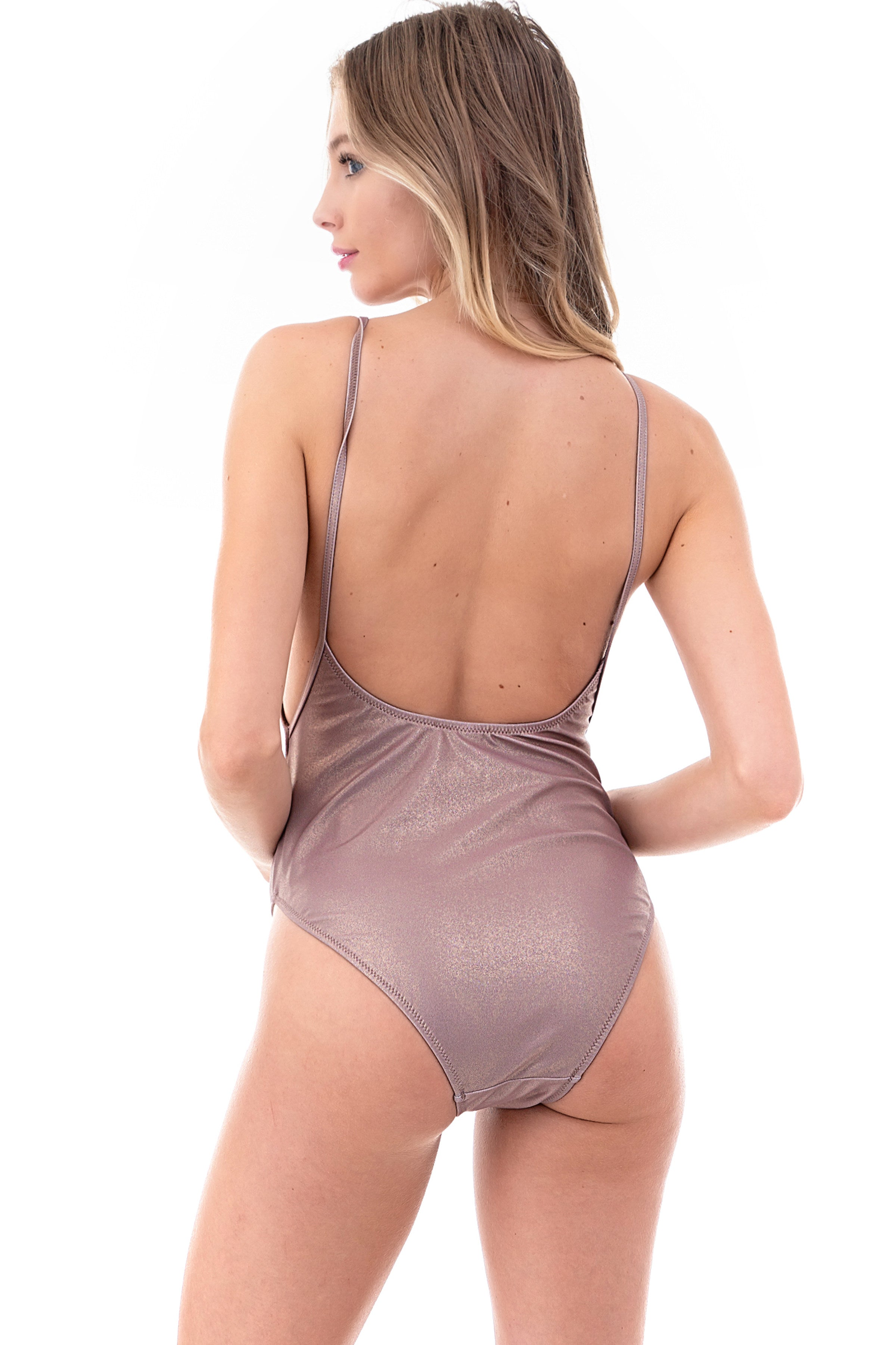 Beige Metallic One-Piece