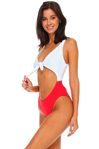 Two Tones Knotted Front Keyhole One-Piece