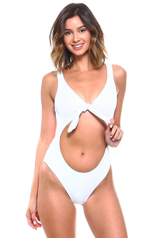 Luxe Ribbed Knotted Front Keyhole One-Piece