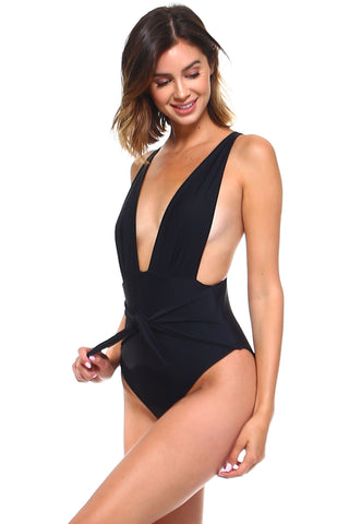 Deep V Front Knotted One-Piece
