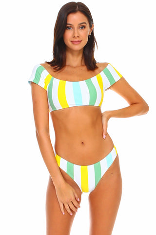 Lido Striped Off-Shoulder Bikini Set