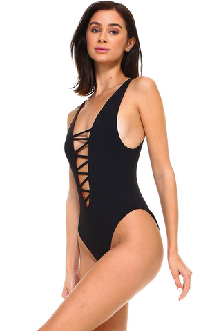 Reversible Ribbed Lace Up One-Piece Swimsuit | Front | Red