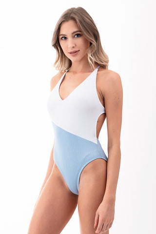 Ribbed Two Tone One Piece Swimsuit | Front | Blue