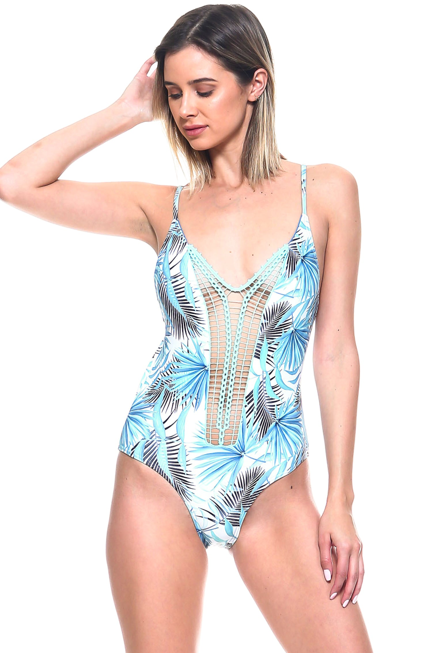 Silhouette Palm Print Lace Front One-Piece