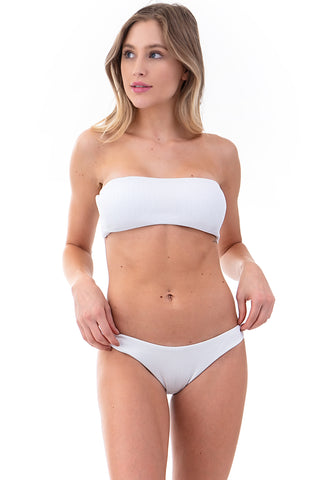 Ribbed Bandeau Two-Piece Bikini Set | Front | White