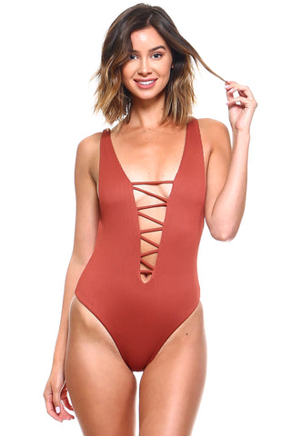 Ribbed Lace Up One-Piece Swimsuit | Front | Rust